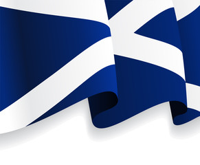 Background with waving Scottish Flag. Vector