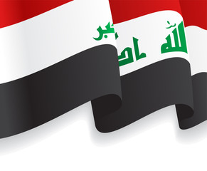 Background with waving Iraq Flag. Vector