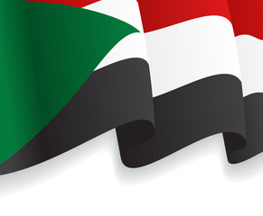 Background with waving Sudan Flag. Vector