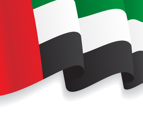 Background with waving UAE Flag. Vector