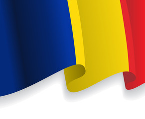 Background with waving Romanian Flag. Vector