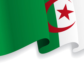 Background with waving Algerian Flag. Vector