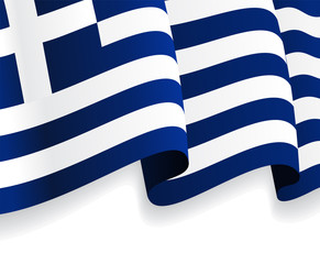 Background with waving Greek Flag. Vector