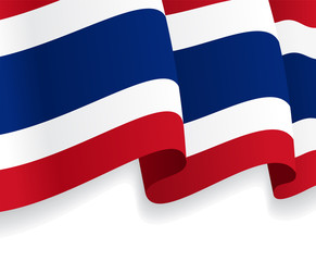 Background with waving Thai Flag. Vector