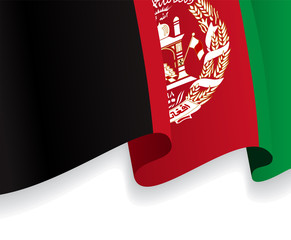Background with waving Afghan Flag. Vector