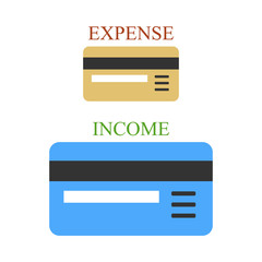 Two bank cards as sings of income and expense