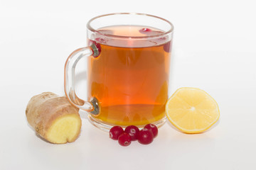 tee with ginger and lemon isolated