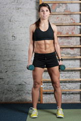 Beautiful fit woman holding dumbbells