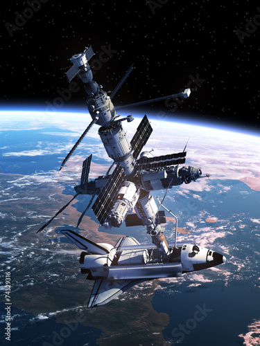 Fototapeta Space Shuttle Docking With Space Station