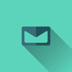 Blue envelope icon. Flat design