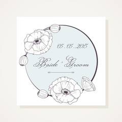 Event frame with outline poppies