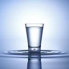Wasserglas auf Wellen