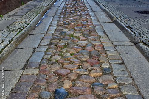 Cobbled street from the gutter in Poznan.