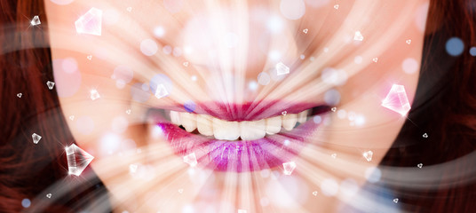 Beautiful girl mouth breathing abstract white lights and crystal