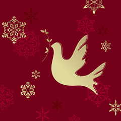 Christmas Dove Red Gold