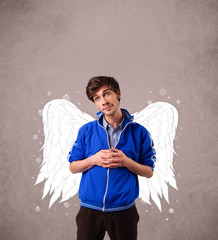 Cute boy with angel illustrated wings