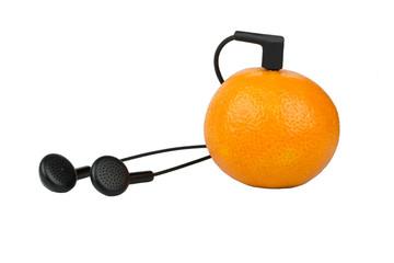 Mandarin and headphones