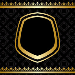 golden frame and decorations on black background - vector