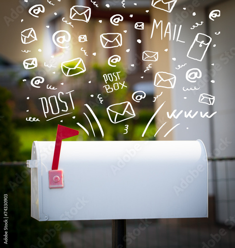 Leinwanddruck Bild Postbox with white hand drawn mail icons
