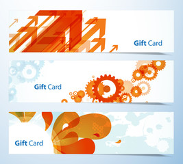 Set of banners or gift cards.