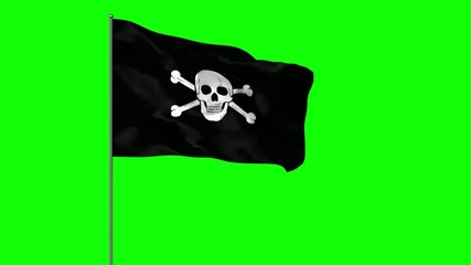Waving pirate flag over green screen