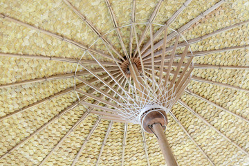 Under view of hand craft clothes umbrella structure of southern