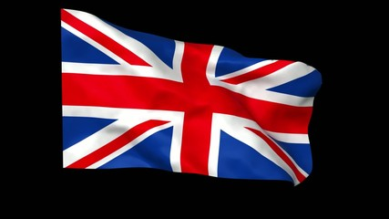 Waving british flag with alpha matte