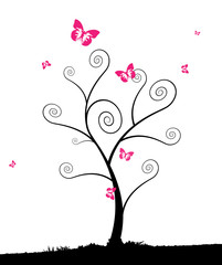 Cartoon tree with group of pink butterflyes.