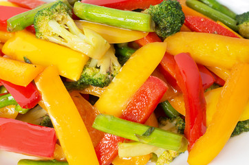 Vietnamese Stir Fry Vegetables close-up macro shot