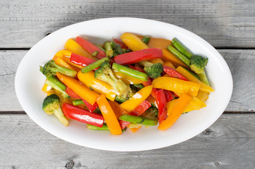 Vietnamese Stir Fry Vegetables on a wooden table