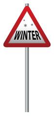 Winter Ahead Signpost