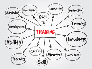 Hand drawn Training vector concept for presentations and reports