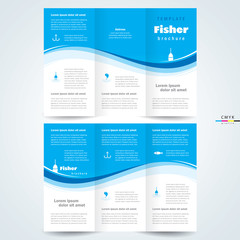 brochure design template vector trifold fisher, cmyk profile