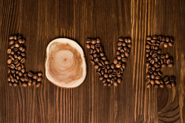 """The word """"love"""" made from coffee beans"""