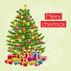 Merry christmas greeting card with the gifts under the tree.