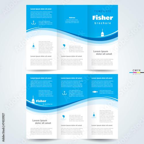 brochure design template vector trifold fisher, cmyk profile - 74331927