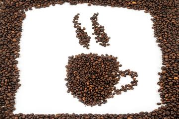 Mugs of coffee beans