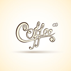 Vector coffee shop labels with calligraphy