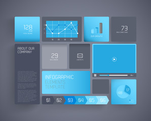 Flat design template with icons and symbols on tiled background.