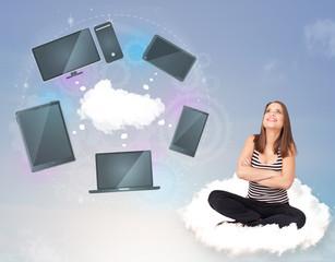 Young girl sitting on cloud enjoying cloud network service