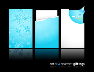 Set of winter gift cards with reflection.