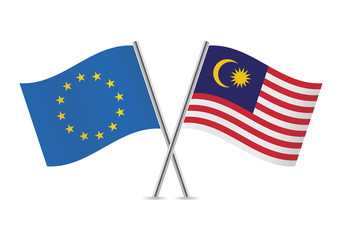 European Union and Malaysian flags. Vector illustration.