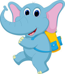 Cute elephant going to school