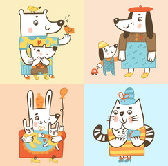 Животные-мамы со своими детьми