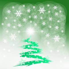 drzewo świąteczne na zielonym tle