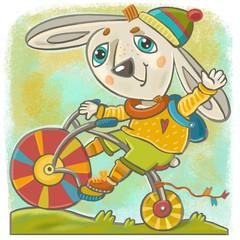 веселый заяц на велосипеде