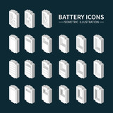 Battery web icons, symbol, sign and design elements in isometric