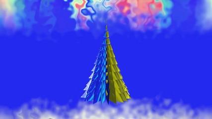 A Christmas tale. Colored Christmas tree.
