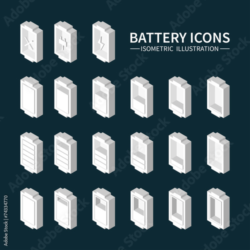 Battery web icons, symbol, sign and design elements in isometric - 74334770