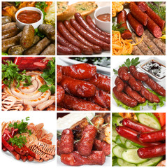 Grilled sausage collage.